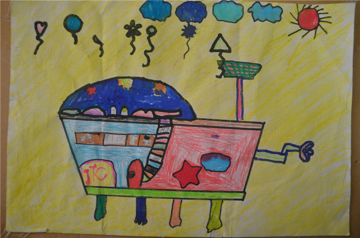 小学二年级画画房车