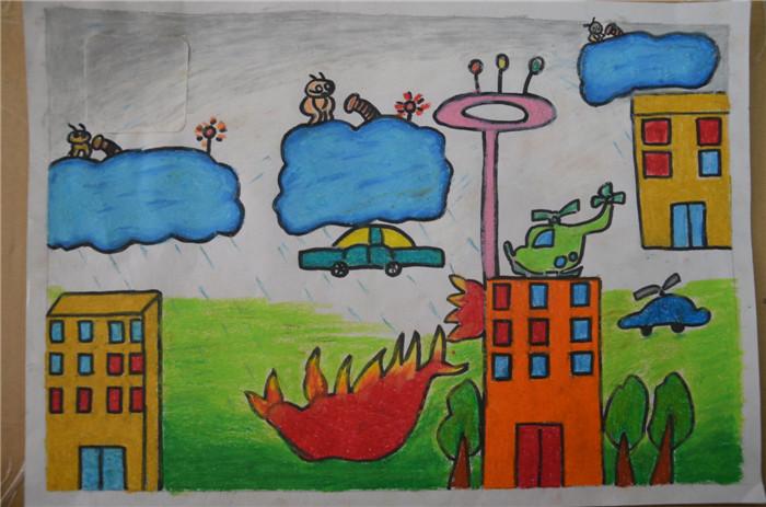 儿童消防卡通画