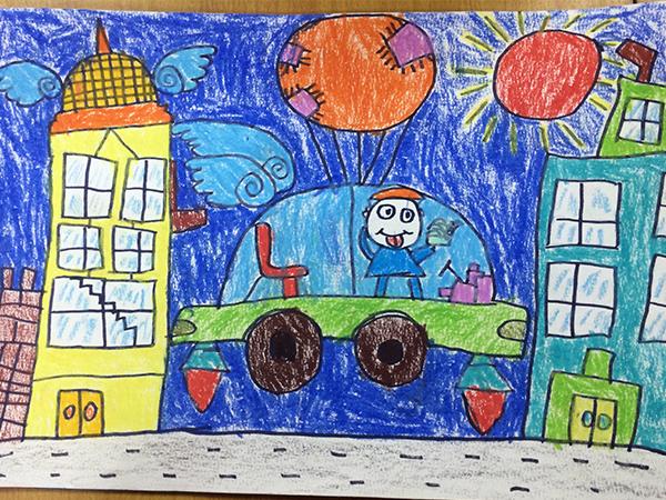 未来学校手绘彩色简单