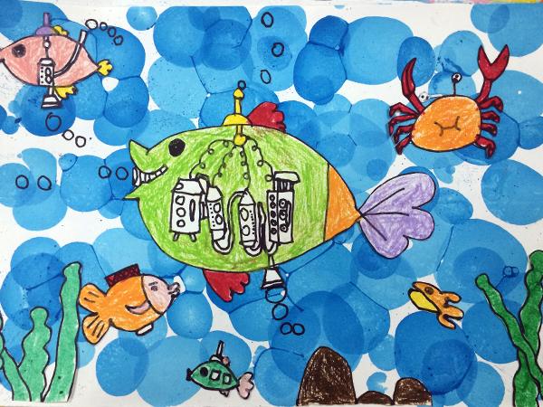 幼儿园海洋彩色简笔画