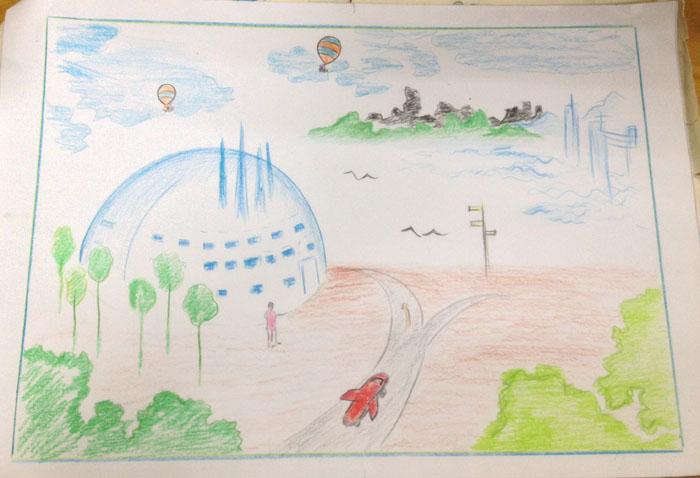未来学校设计图 手绘