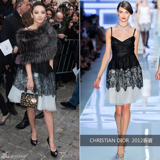 张雨绮身穿Dior 2012春夏系列礼服亮相Dior秀场,搭配皮草披肩,贵气图片